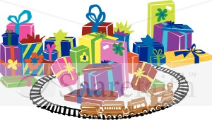 Train Track Alongside Christmas Presents