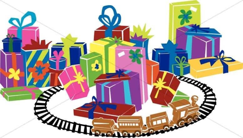 Train Track Alongside Christmas Presents
