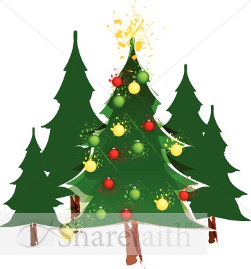 Decorated Christmas Tree in Forest