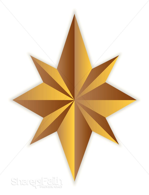8 Point Gold Star | Christian Star Clipart