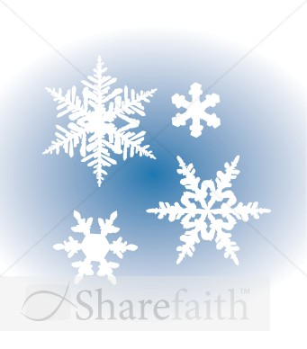 White Snowflakes on Blue Gradient