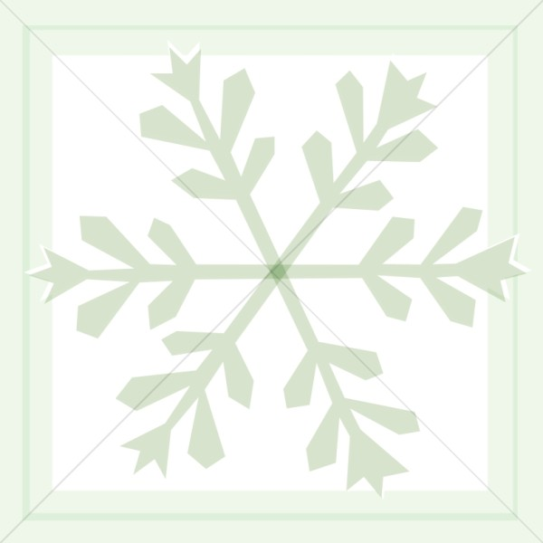 Green Snowflake in Square