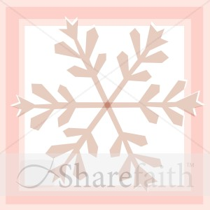 Red Snowflake in Square