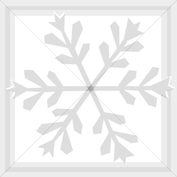 Silver Snowflake in Square