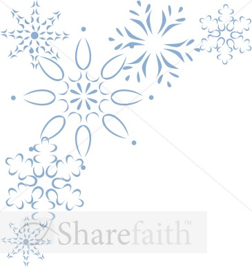 Elegant Blue Snowflake Corner