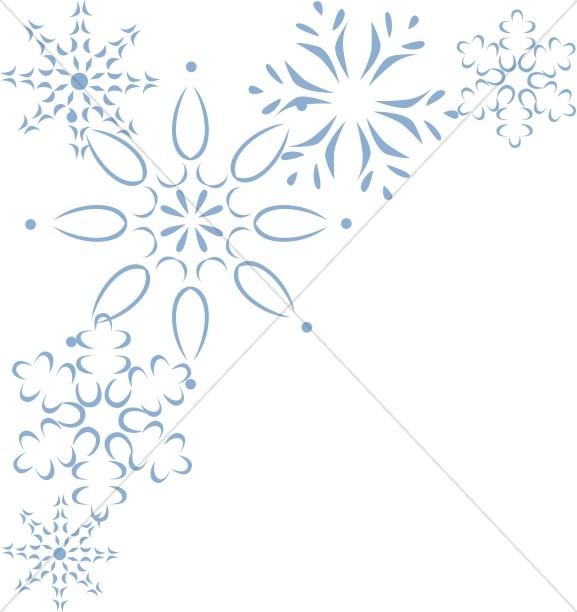 Elegant Blue Snowflake Corner