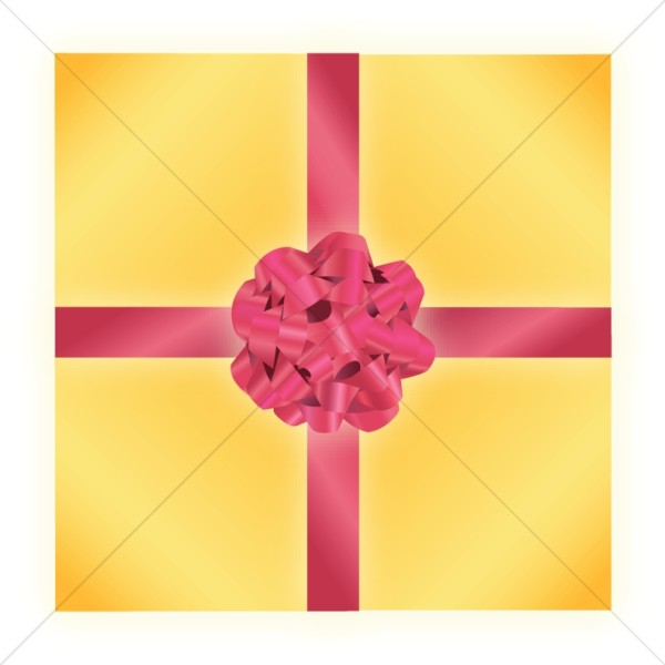 Yellow and Red Wrapped Gift