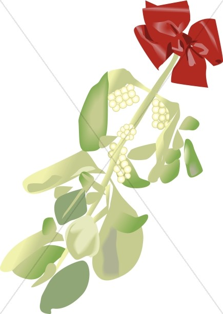 Christmas Mistletoe Hung with a Red Bow