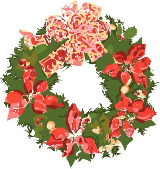 Holiday Wreath with Poinsettias