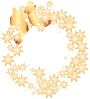 Golden Starry Wreath and Bow