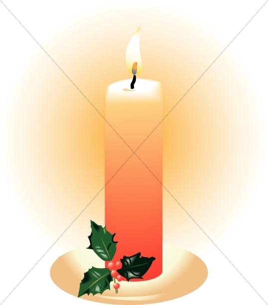Orange Candle With Holly Church Candle Clipart