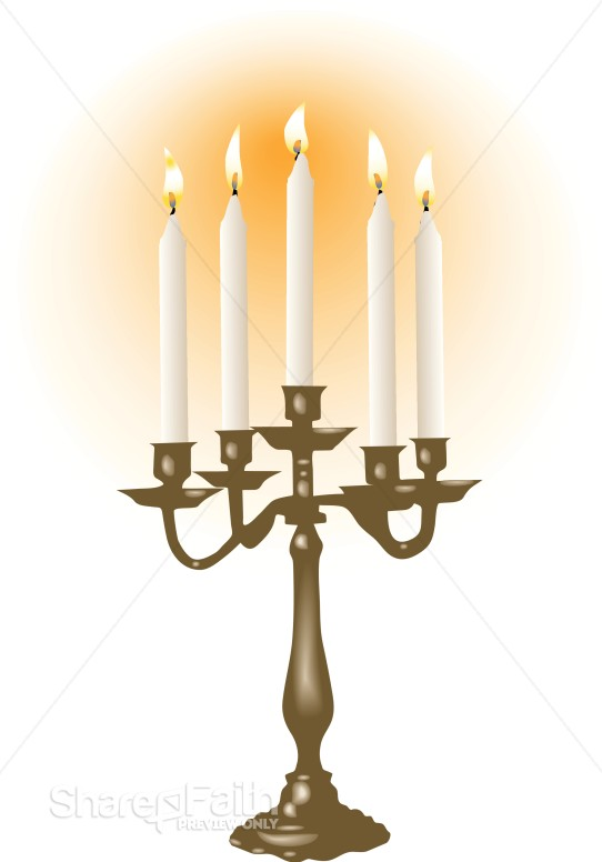 White Candles In Candelabra Church Candle Clipart