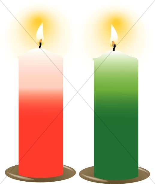 Red and Green Christmas Candles
