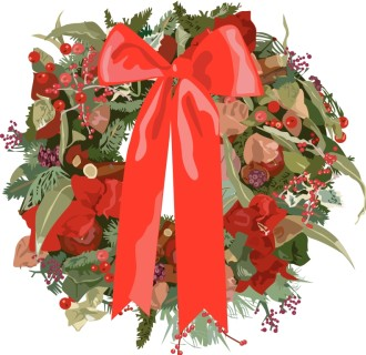 Fancy Christmas Wreath with Red Ribbon