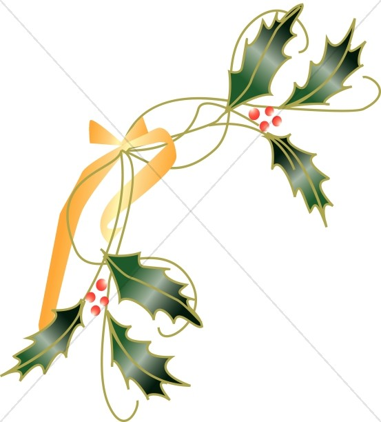 Holly Leaves Tied with Ribbon