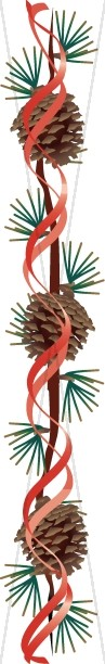 Pine Cones with Red Ribbon Page Column