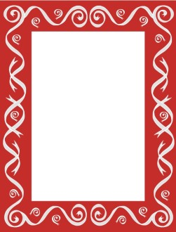 Red Bar Frame with Gray Ribbon Swirls