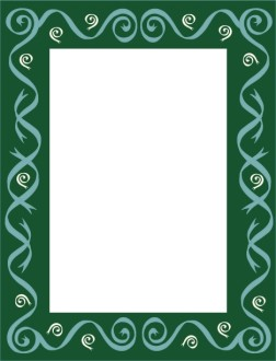 Green Frame with Green Ribbon Swirls