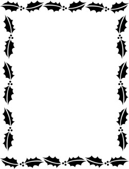 Outline of Holly Leaves in Black