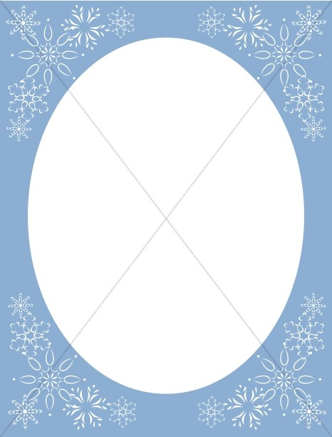 Blue Oval Snowflake Frame