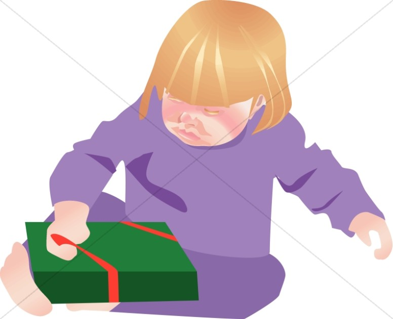 Cute Girl Opening Christmas Gift