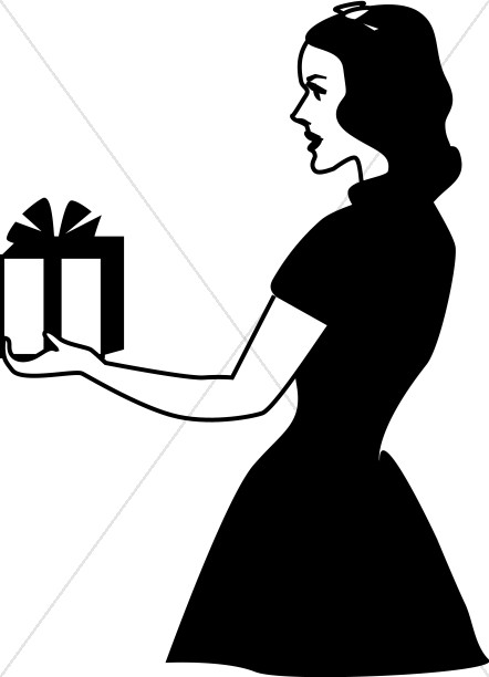 Retro Lady Giving Gift
