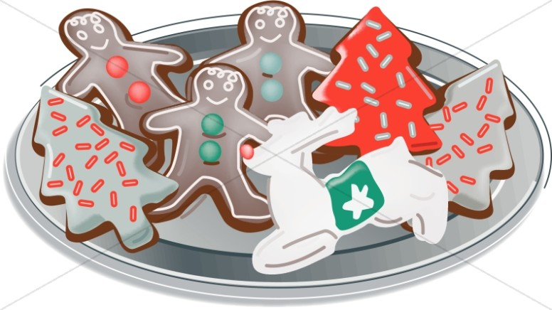 Plate of Christmas Cutout Cookies