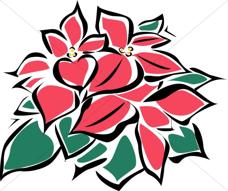 Abstract Poinsettia Flowers