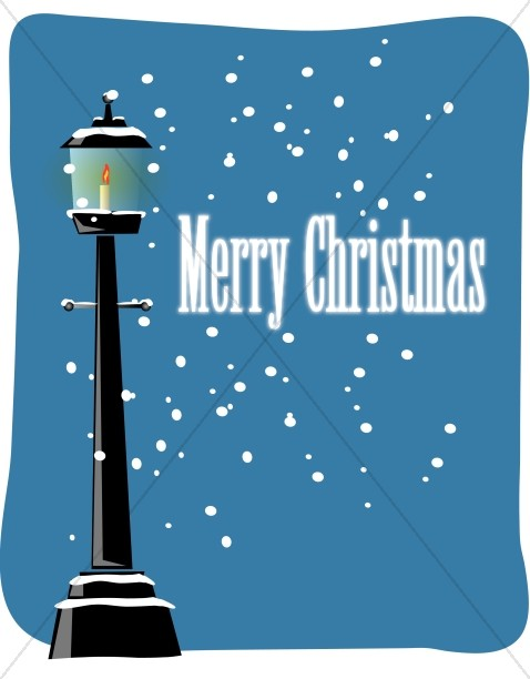 Merry Christmas Words with Snowy Lamppost
