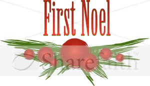 Decorative Holly Branch with First Noel
