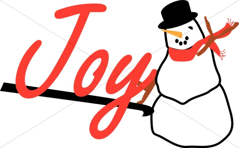 Cheerful Snowman with Joy Sign