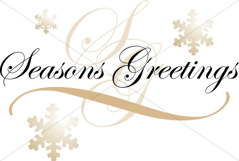 Formal Seasons Greetings Text on Snowflakes