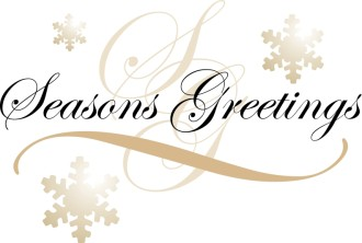 Formal Seasons Greetings Text on Snowflakes