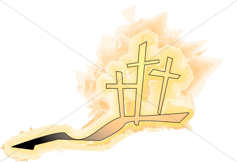 Fiery Glowing Calvary Crosses