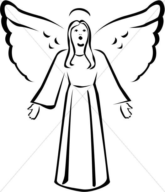 Perfect Black And White Singing Angel Clipart