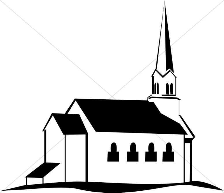 Clip Art Clip Art Church church clipart graphics images sharefaith black and white on a hill