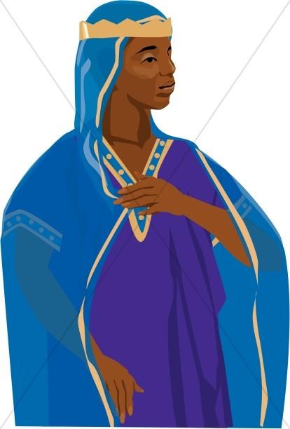 Queen of Sheba in Blue Robe