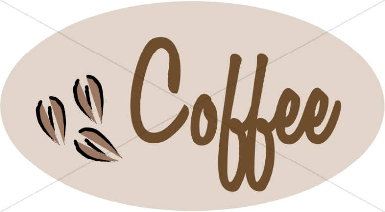 Coffee Sign in Oval Shape