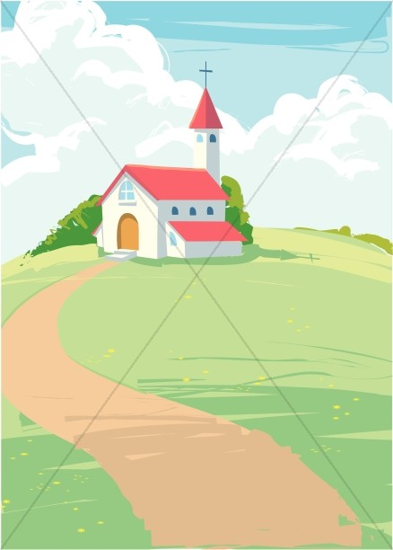 Quaint Country Church on a Hilltop