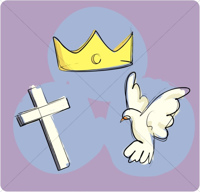 The Trinity As The Crown Cross And Dove Trinity Clipart