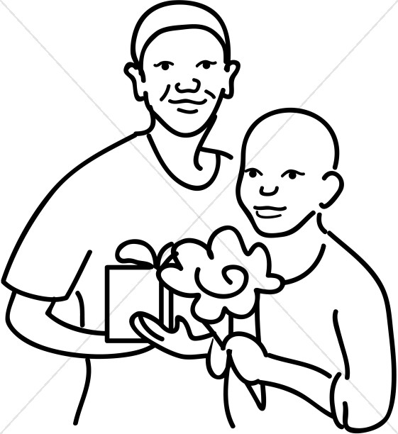 African American Mother and Son Line Art