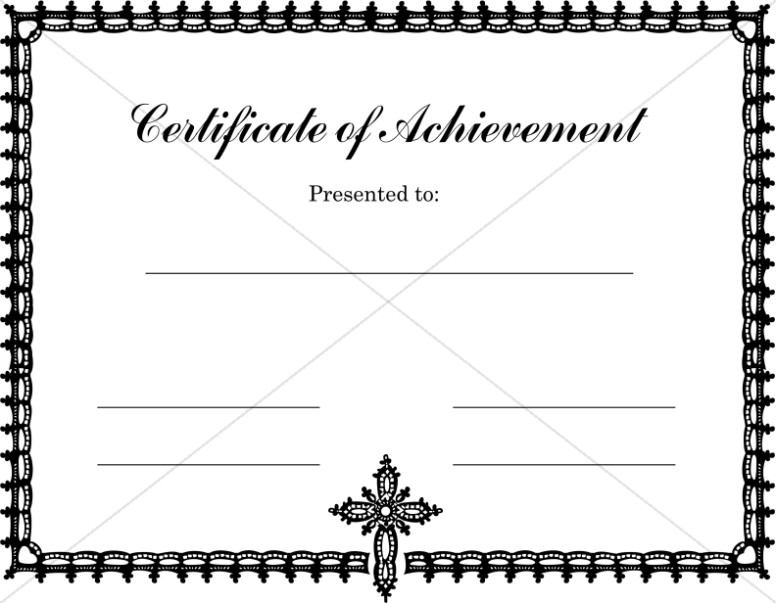 Certificate of Achievement with Ornate Cross