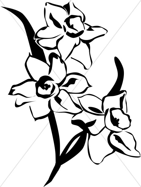 spring daffodils black and white church flower clipart rh sharefaith com black and white flowers clipart black and white flower clip art free images