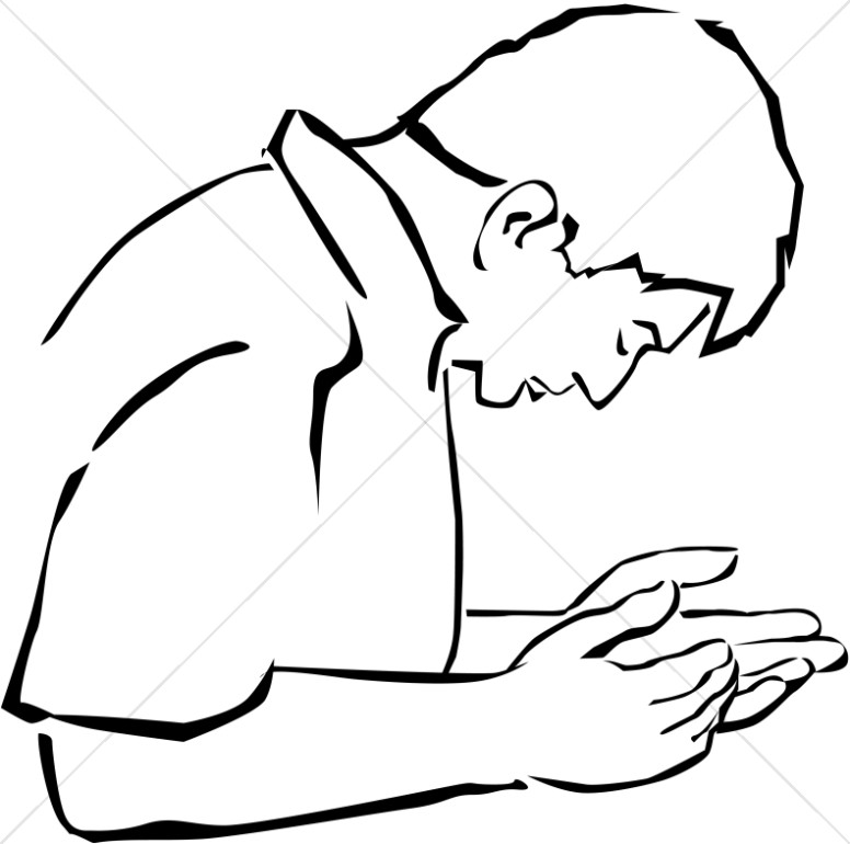 Man Cupping Hands in Supplication