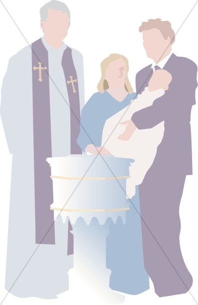 Simple Baby baptism altar and priest