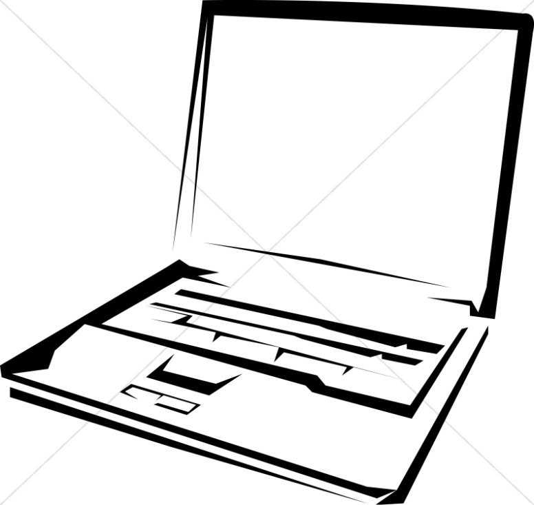 black and white laptop computer christian classroom clipart