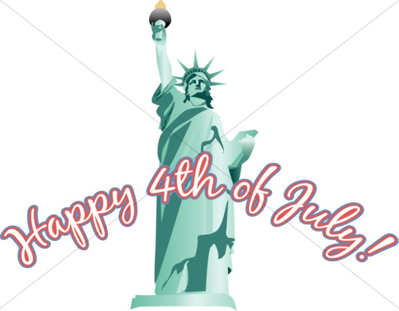 4th of July wordart Statue of Liberty