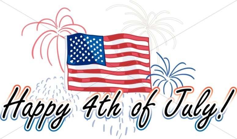 Stars and Stripes Happy 4th of July Wordart