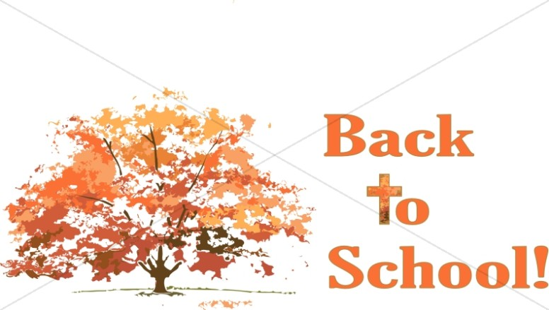 Back to School with Cross and Autumn Tree