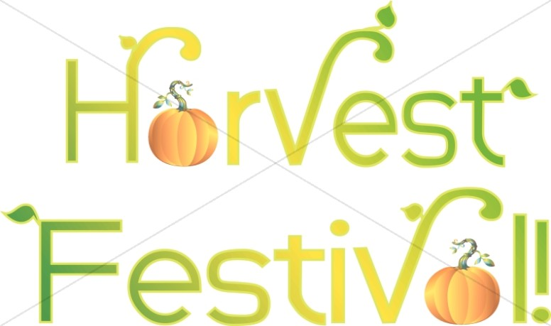 Harvest Festival Typography With Leaves And Pumpkins